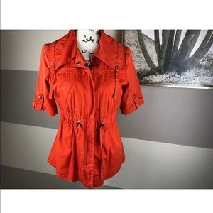 💕 Tullette Orange Elastic Drawstring Jacket Sz M